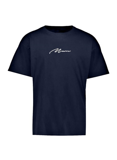 Oksit Man Imza Detaylı Oversize T-Shirt Lacivert